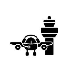 flight dispatch black glyph icon vector image