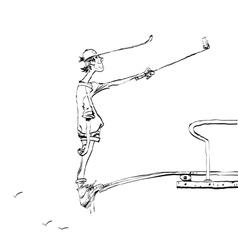 Funny selfie guy on the diving platform vector image