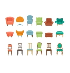 Furniture for Sitting Chairs Armchairs Stools vector