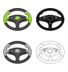 Game steering wheel single icon in cartoonblack vector