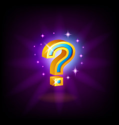 gold-blue question mark slot icon with sparkles vector image