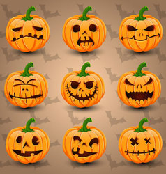 Halloween icon set of Pumpkins vector