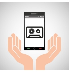 hand mobile phone tape cassette vector image