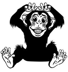 happy cartoon chimp black and white vector image