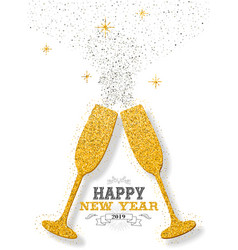 happy new year 2019 party toast gold glitter card vector image
