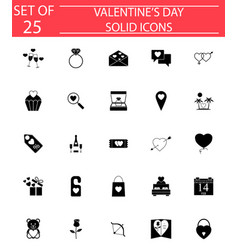 Happy valentines day solid icon set vector