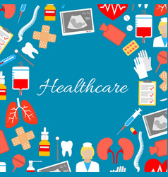 Healthcare poster medical treatments vector
