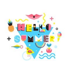 Hello summer memphis style vector