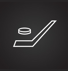 hockey game thin line on black background vector image