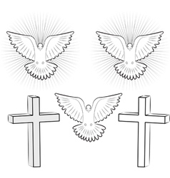 holy ghost and cross vector image
