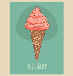 ice cream character engraved retro vector image