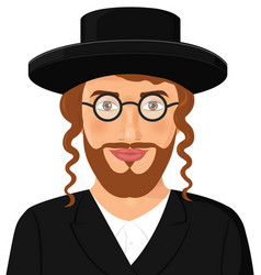 Jewish man face portrait with hat and beard vector