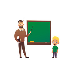 little boy study in school class with teacher vector image