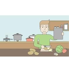 Man cooking food vector