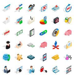 Mandatory business icons set isometric style vector