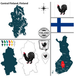 map of central finland finland vector image