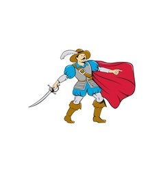 Musketeer Cape with Saber Cartoon vector