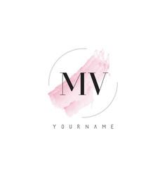 Mv m v watercolor letter logo design vector