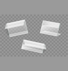 Nameplates plastic or acrylic holders set vector