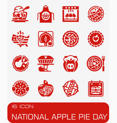 National apple pie icon set vector