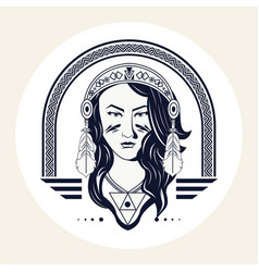 Native american woman with feathers head bandana vector
