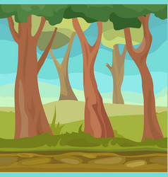 natural seamless forest for game or app cartoon vector image