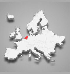 Netherlands country location within europe 3d map vector