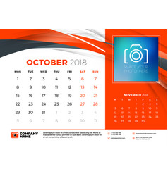 october 2018 desk calendar design template with vector image