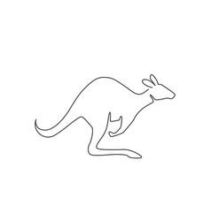 one single line drawing cute standing kangaroo vector image
