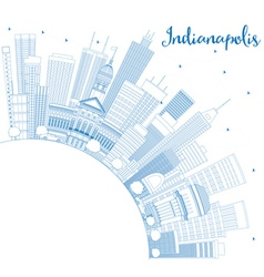 Outline Indianapolis Skyline with Blue Buildings vector image