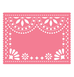 Papel picado pink floral template design vector