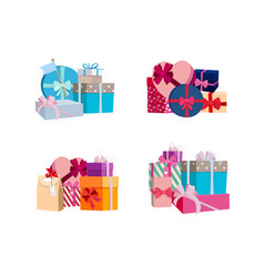 piles of gift boxes and packages set vector image