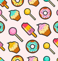 Pink candy stitch patch style seamless background vector image vector image