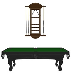 Pool table and rack vector