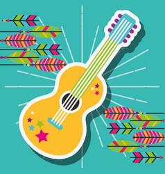Retro guitar with stickers and feathers free vector