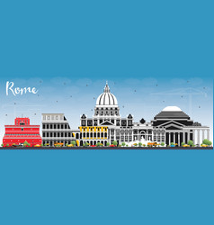 rome italy city skyline with color buildings and vector image