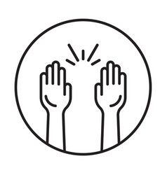 Rounded raise hands line art icon for apps vector