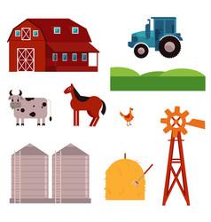 rural ranch design elements set vector image