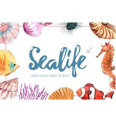 Sealife themed frame design with sea animal vector
