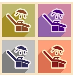 Set flat icons with long shadow gynecological vector