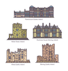 Set line isolated ireland famous buildings vector