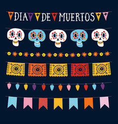 set of dia de los muertos mexican day of the dead vector image