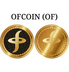 Set of physical golden coin ofcoin of vector