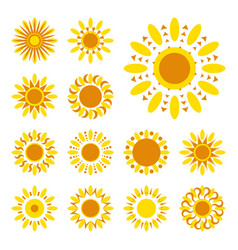 Set of sun icons vector