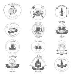 set two-color beer craft badges vector image
