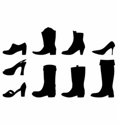 shadows boots and shoes vector image