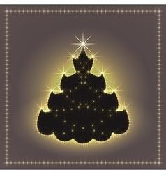 Shiny neon christmas tree xmas card new year vector