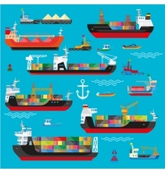 Ships boats cargo logistics transportation and vector