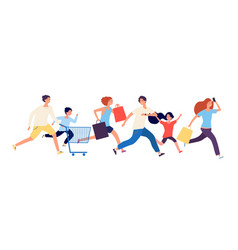 shopping people man woman kids run to store sale vector image