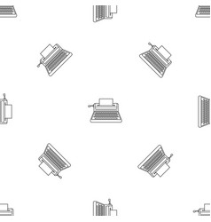small typewriter icon outline style vector image